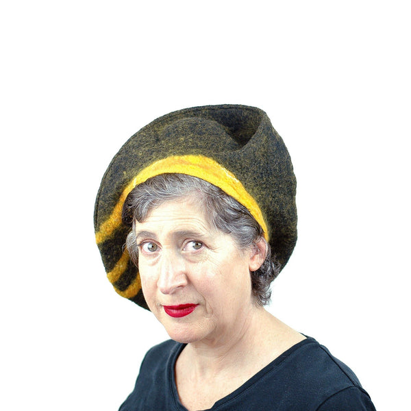 Black and Gold Beret with Bridge - front view