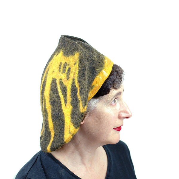 Black and Gold Beret with Bridge - side view