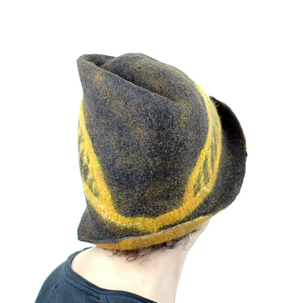 Black and Gold Felted Fedora with Tied-arch Bridge - back view