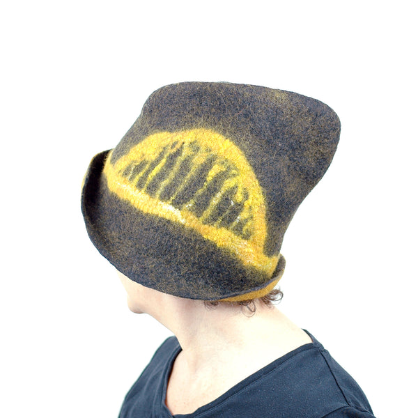 Black and Gold Felted Fedora with Tied-arch Bridge - side view