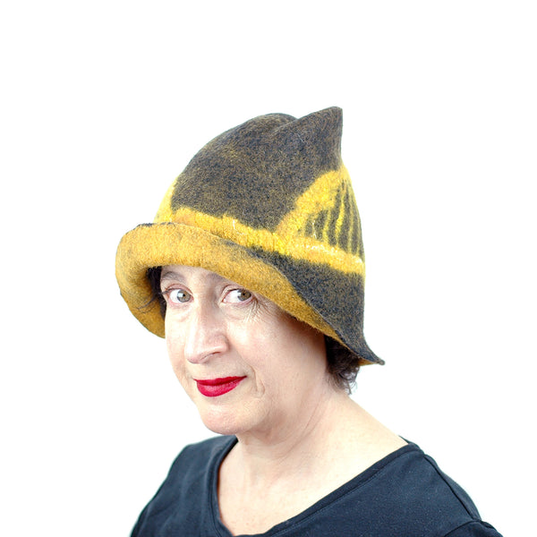 Black and Gold Felted Fedora with Tied-arch Bridge - threequarters view