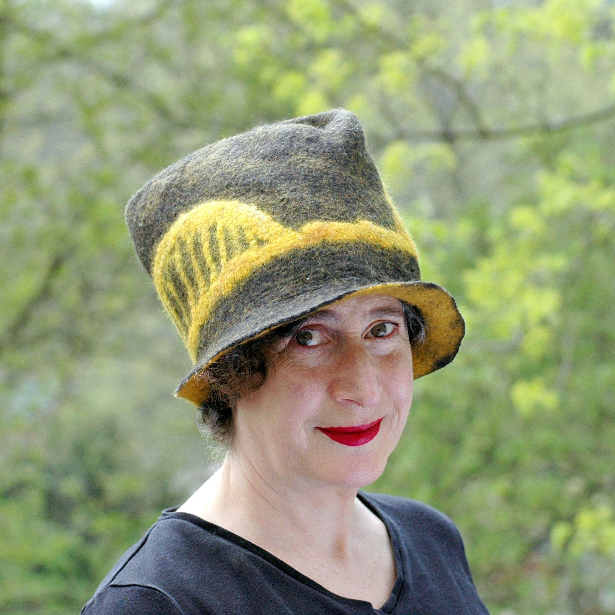 Black and Gold Felted Fedora with Tied-arch Bridge - outdoors
