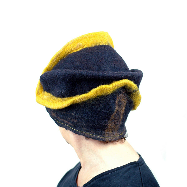 Black and Gold Wizard Hat for Pittsburgh or Hufflepuff Fans -back view