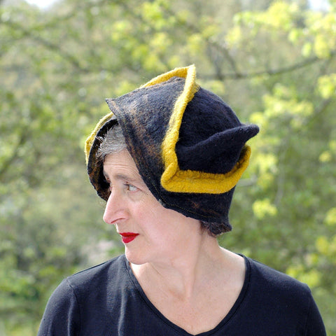 Black and Gold Wizard Hat for Pittsburgh or Hufflepuff Fans - outdoors