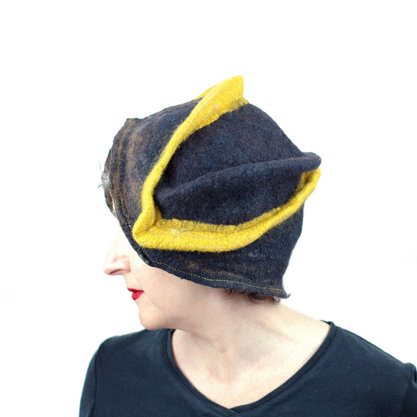 Black and Gold Wizard Hat for Pittsburgh or Hufflepuff Fans - side view