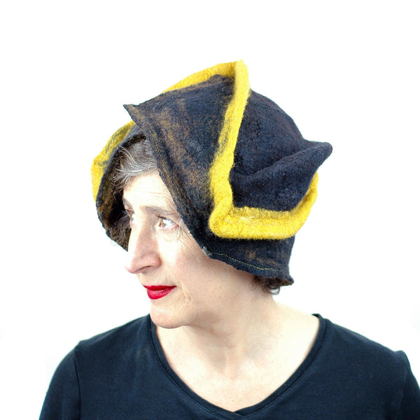 Black and Gold Wizard Hat for Pittsburgh or Hufflepuff Fans - three quarters view