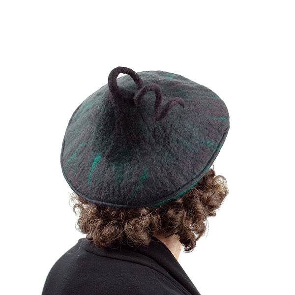 Black and Green Felted Beret with Curlicue on Top - back view