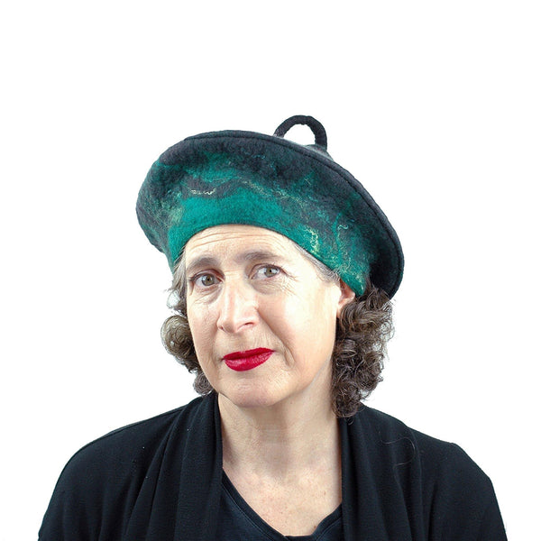 Black and Green Felted Beret with Curlicue on Top - threequarters view