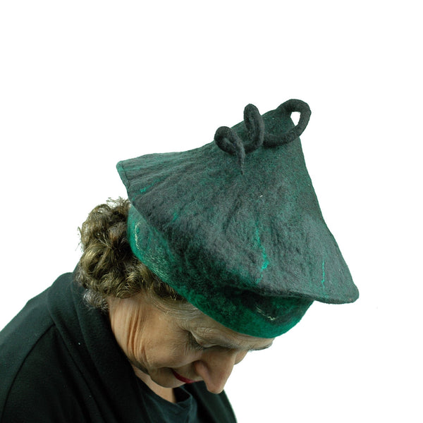 Black and Green Felted Beret with Curlicue on Top - top view