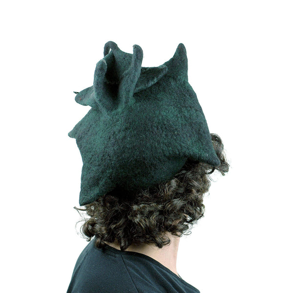 Black Felted Pagoda Hat with Curlicue on Top - back view