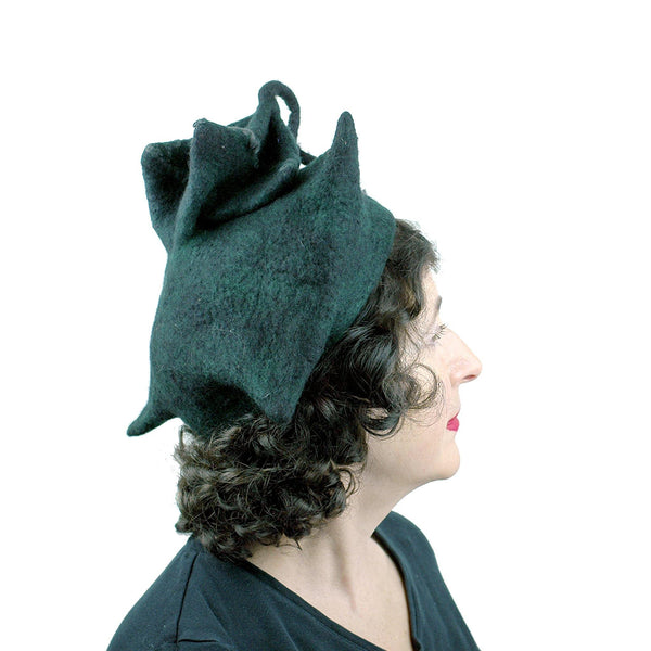 Black Felted Pagoda Hat with Curlicue on Top - side view