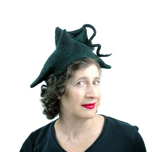 Black Felted Pagoda Hat with Curlicue on Top - threequarters view