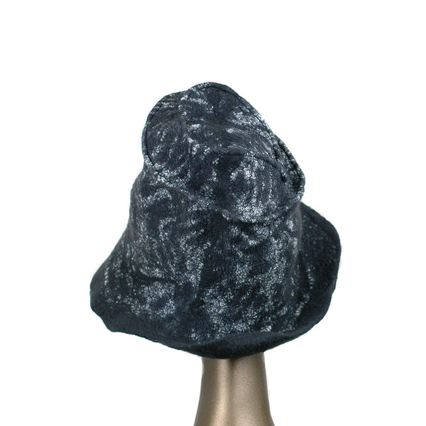 Black Nunofelted Western Style Hat - back view