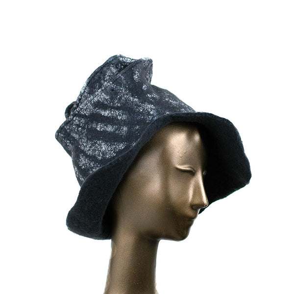 Black Nunofelted Western Style Hat - side view