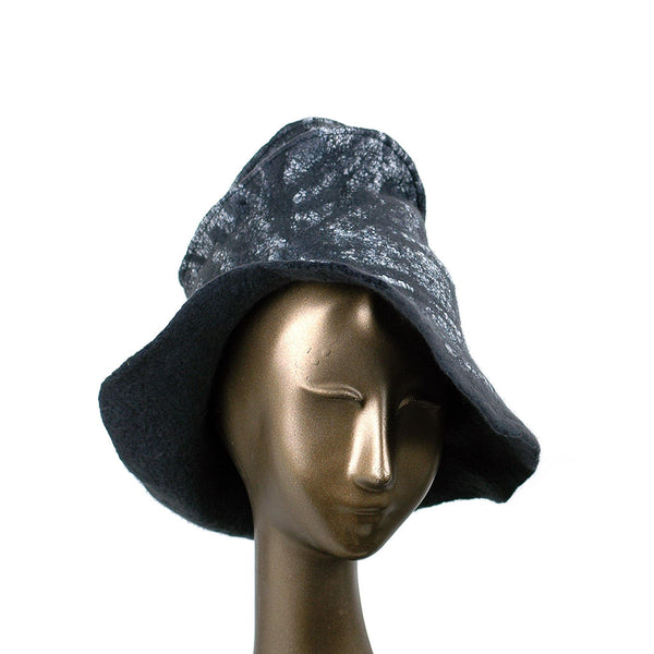 Black Nunofelted Western Style Hat - three quarters view