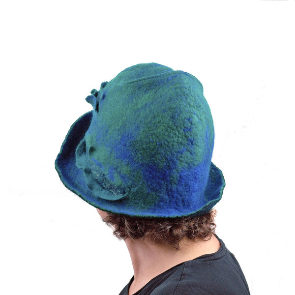 Blue Green Cloche - back view