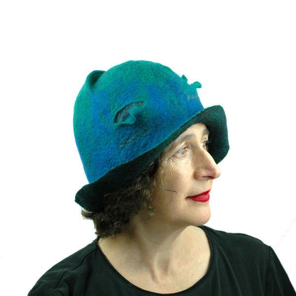 Blue Green Cloche - side view