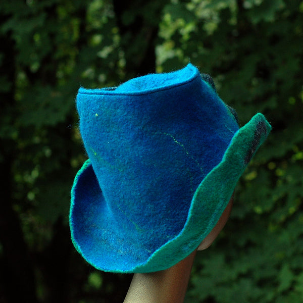 Blue Green Felted Hat with Curving Brim - back view