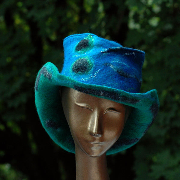 Blue Green Felted Hat with Curving Brim -front view