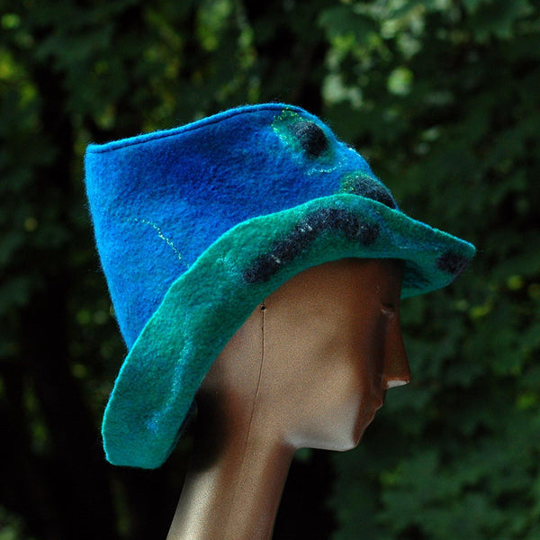 Blue Green Felted Hat with Curving Brim -side view