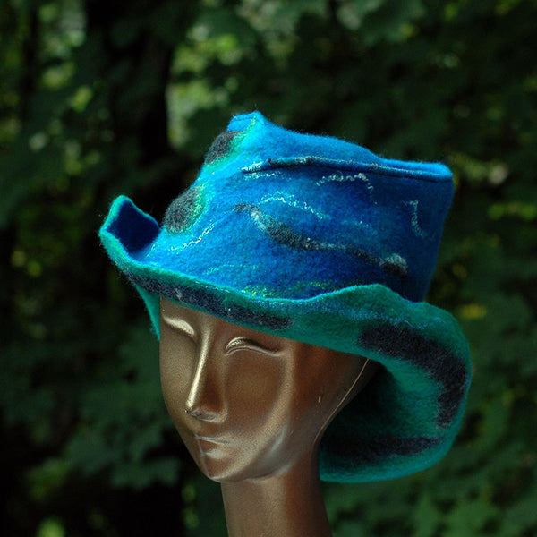 Blue Green Felted Hat with Curving Brim - three quarters view