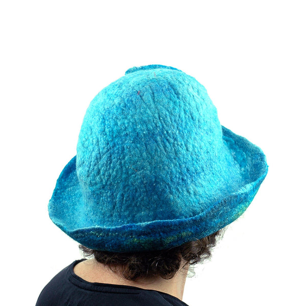 Blue Wave Felted Cloche - back view