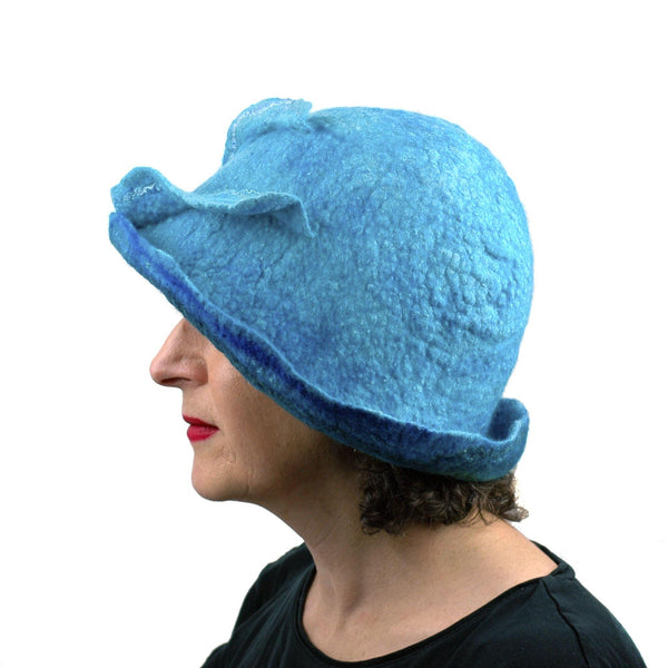 Blue Wave Felted Cloche - side view