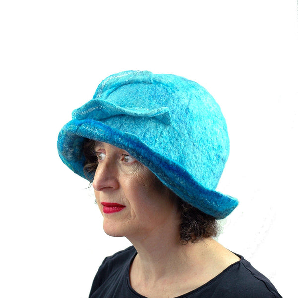 Blue Wave Felted Cloche - three quarters view