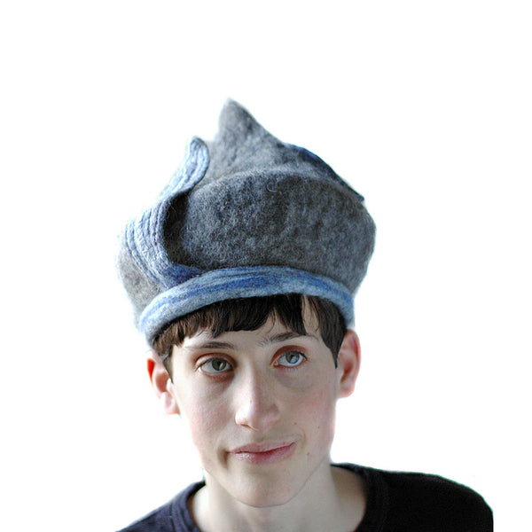 Bluegrey Pixie Hat -front view