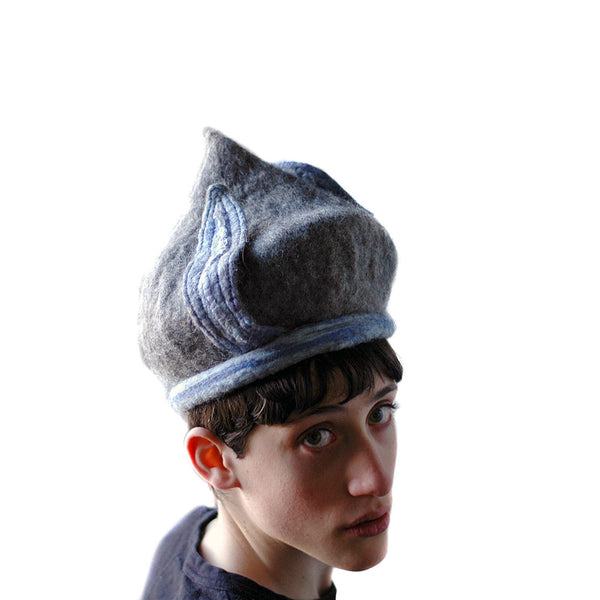 Bluegrey Pixie Hat - over the shoulder view