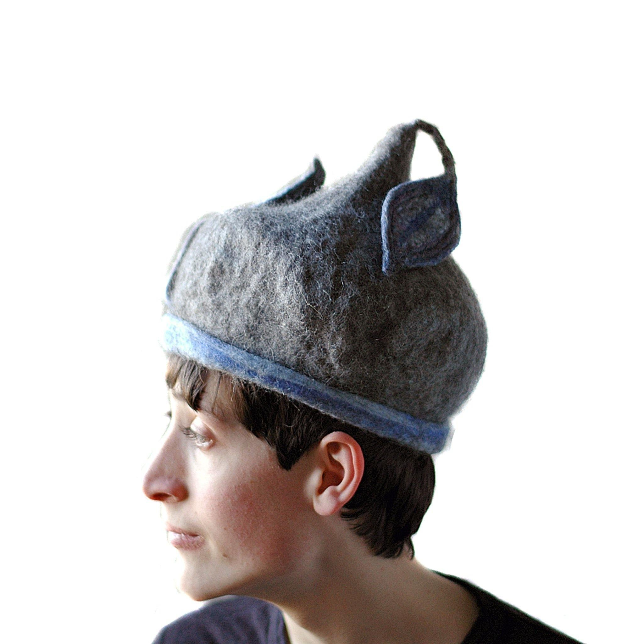 Bluegrey Pixie Hat -side view