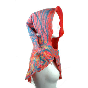 Brightly Colored Nunofelted Hood in pinks, oranges and blues