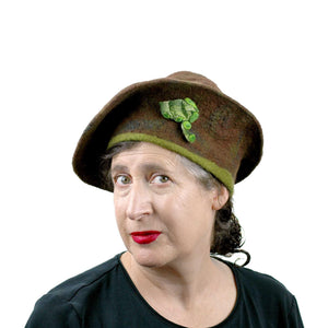 Brown and Green Forest Conical Beret  -three quarters view