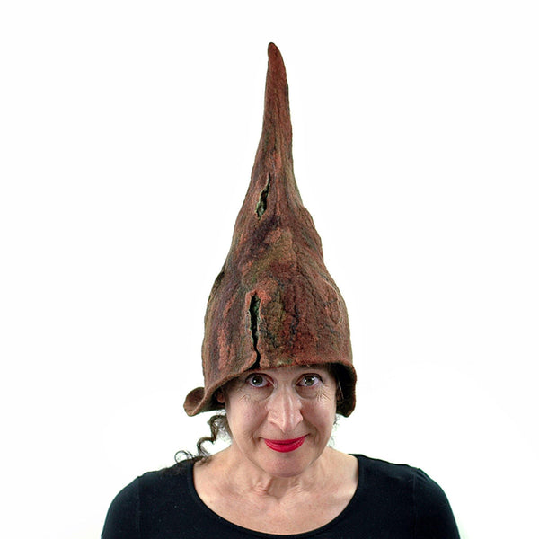 Brown Forest Gnome Hat - front view