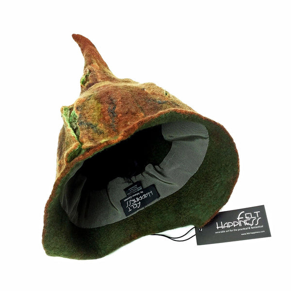 Brown Forest Gnome Hat - inside view