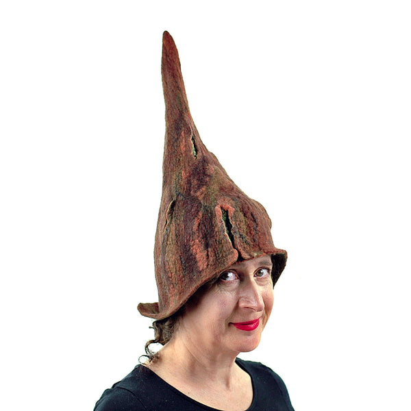 Brown Forest Gnome Hat - three quarters view