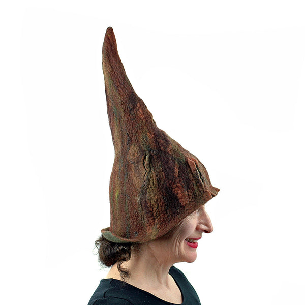 Brown Forest Gnome Hat - side view