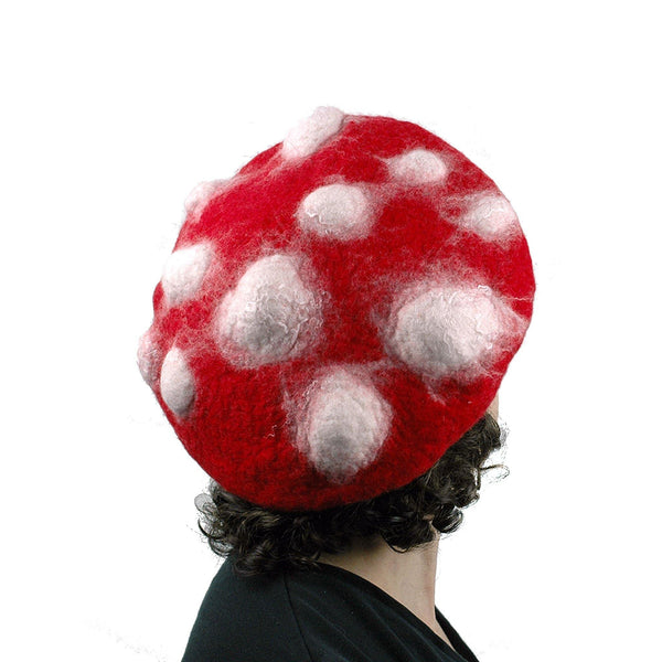 Bumpy Red and White Amanita Mushroom Beret - back view
