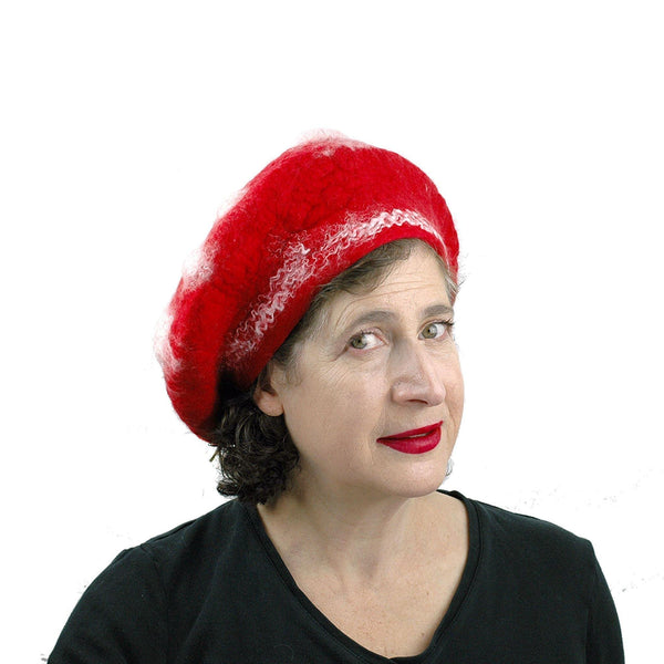 Bumpy Red and White Amanita Mushroom Beret - threequarters  view