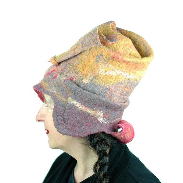 Burningman Inspired Felted Hat - side view