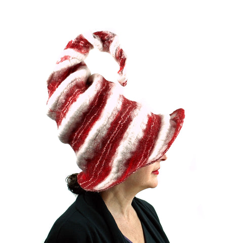Candycane Witch Hat in Red and White Stripes - right side