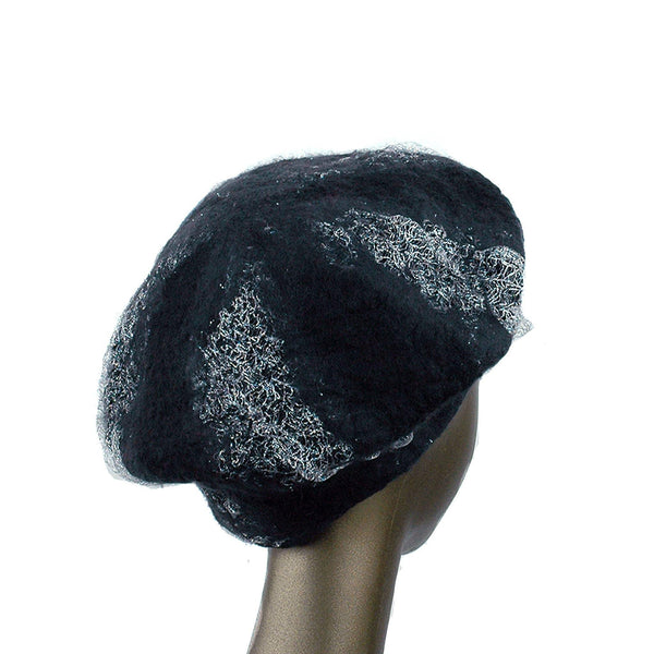 Charcoal Black Beret with Silver Nunofelt - back view