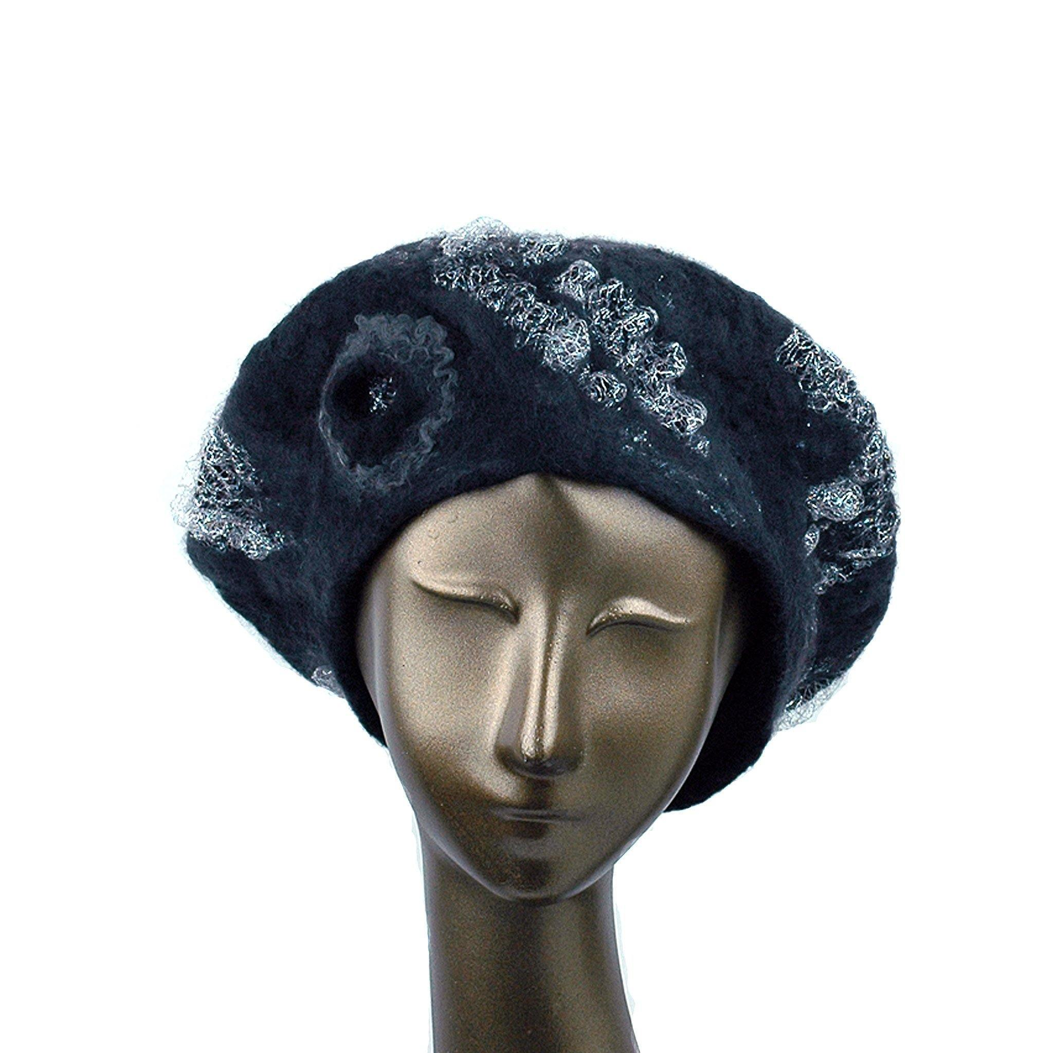 Charcoal Black Beret with Silver Nunofelt - front view
