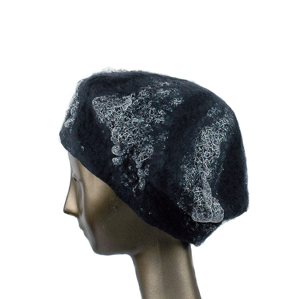 Charcoal Black Beret with Silver Nunofelt - side view