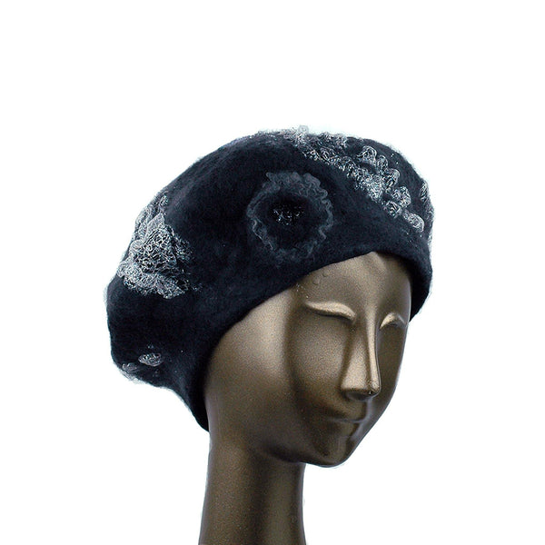 Charcoal Black Beret with Silver Nunofelt - three quarters view