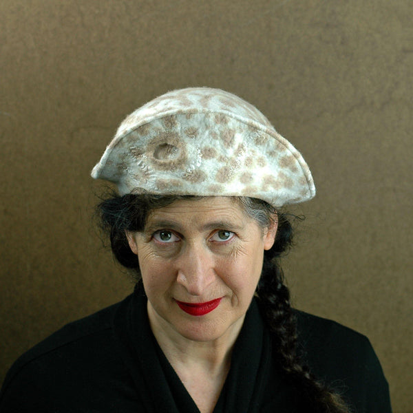Cheetah Beret in Ivory with Brown Spots - front view