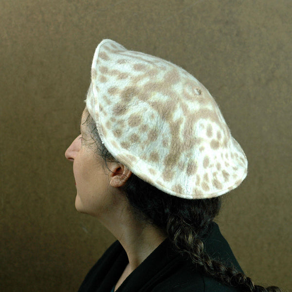 Cheetah Beret in Ivory with Brown Spots - back view