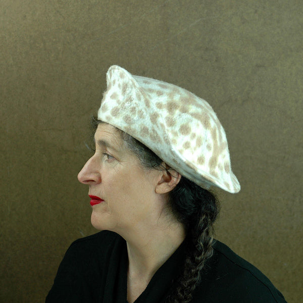 Cheetah Beret in Ivory with Brown Spots -side view