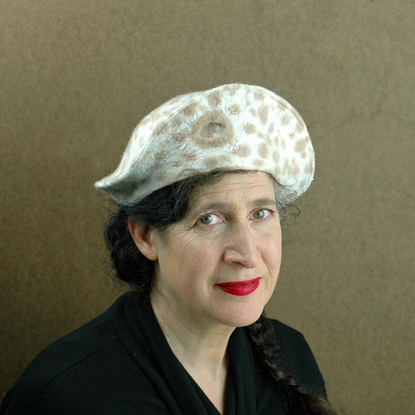 Cheetah Beret in Ivory with Brown Spots