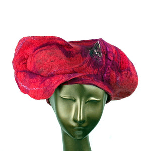 Sculptural Cherry Colored Beret - front view